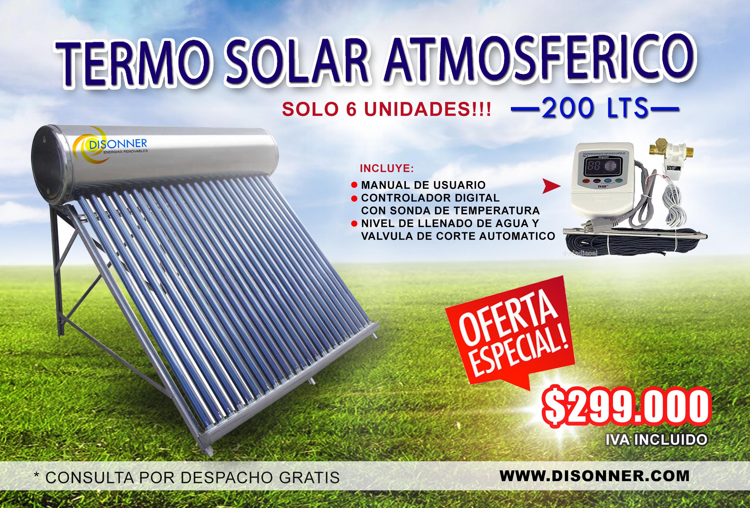 Termosolar atmosferico con accesorios 200lts disonner for Termo solar precio